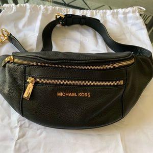 Michael Kors Black Leather belt bag.